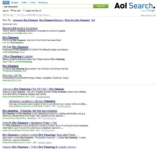 AOL search engine results page