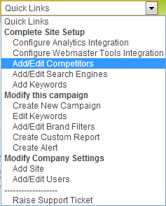 Analytics SEO Version 5 Quicklinks Menu