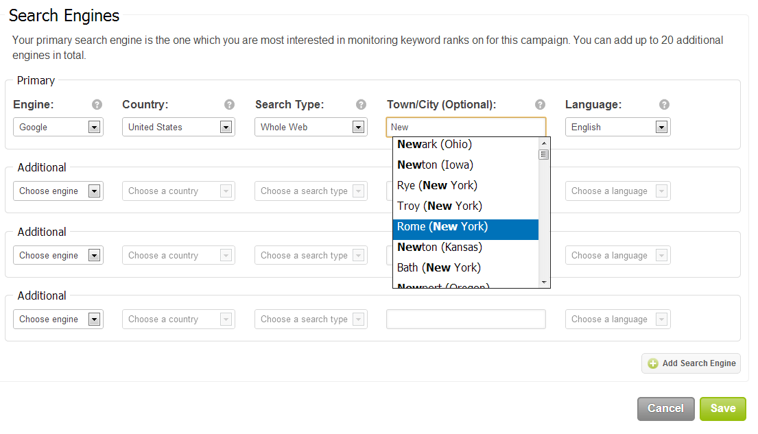 Selecting towns for keyword monitoring