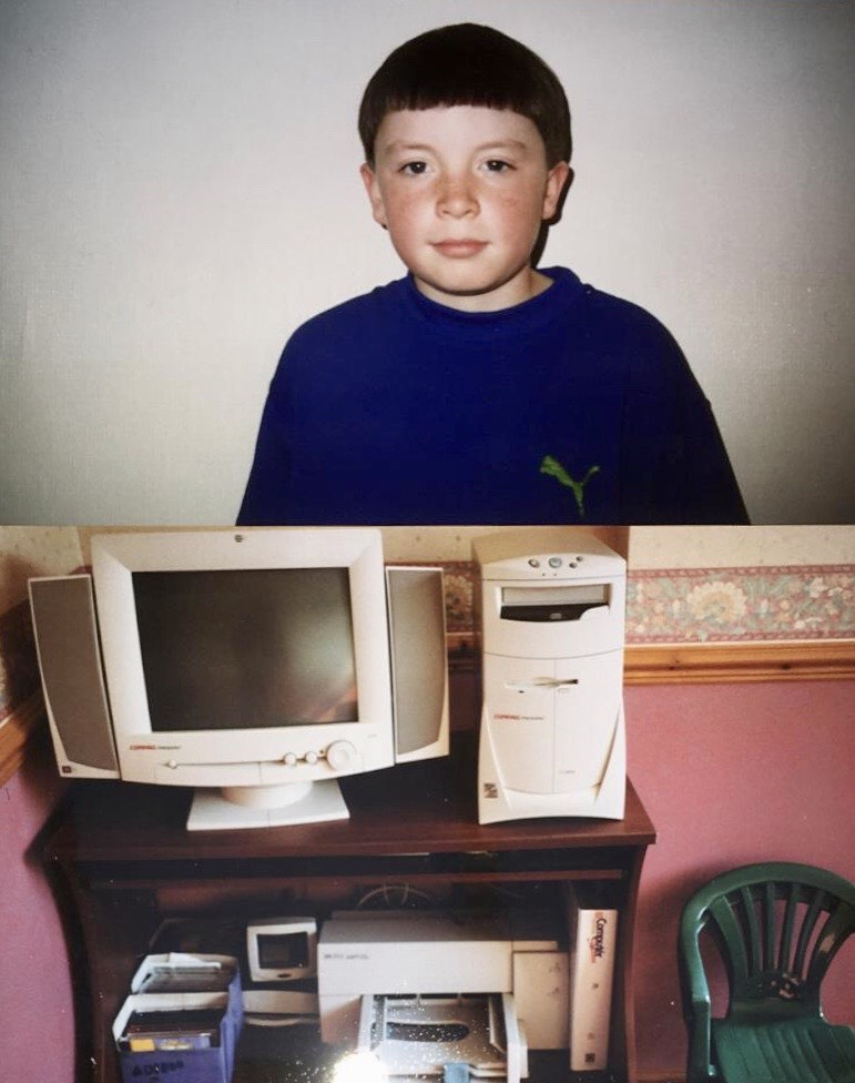Pete Campbell age 11 and the computer when he built his first website.