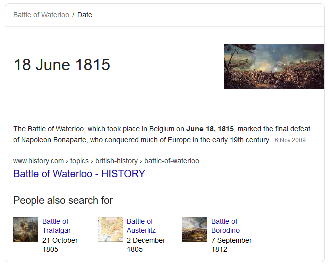I - Answer Box - when was the battle of waterloo - Google Search