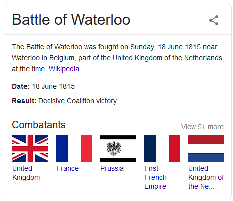 I - Knowledge Panel - when was the battle of waterloo - Google Search