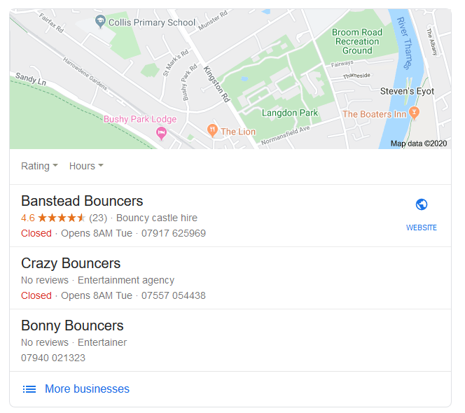 intent low as local listings are all different companies but have one word in common (e.g bouncers)