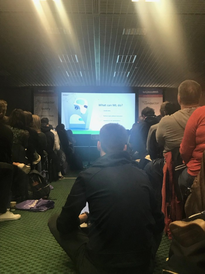BrightonSEO presentation sat on the floor
