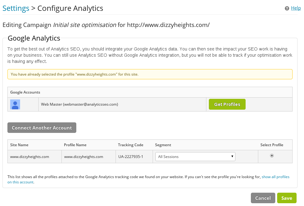 Configuring Google Analytics segments inside the Analytics SEO platform